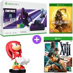 Microsoft Xbox One S 1TB Console and Fortnite - Dark Violet with Mortal Kombat 11, Sonic the Hedgehog Knuckles Cable Guy and XIII - Limited Edition
