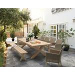 KETTLER Cora 10 Seater Rectangular Garden Dining Table, FSC-Certified (Acacia Wood), Smoke White