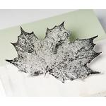 Natural Canadian Maple Leaf Silver Or Gold Brooch, Silver
