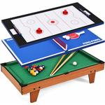3-in-1 Multi Competition Game Table Set W/ Pool Billiards Hockey & Table Tennis - Costway