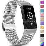 Amzpas Compatible With Fitbit Charge 3 Strap/Fitbit Charge 4 Strap, Adjustable Mesh Loop Stainless Steel Metal Strap Wristband With Unique Magnet Lock For Fitbit Charge 3/Charge 4 (01 Sliver, S) - Brand New