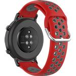 Dual-color PC Replacement Smart Watch Strap for Honor MagicWatch 2 42MM/Huawei Watch GT2 42MM - Red/Grey