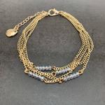 Gold Blue Crystal Bead Bracelet, Gold