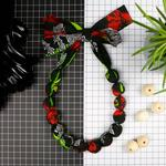 Chunky Fabric Bead Necklace 'Poppies'