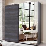Herne Sliding Door Mirrored Wardrobe In Graphite