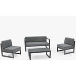 KETTLER Versa 4-Seat Garden Lounging Table & Chairs Set, Grey