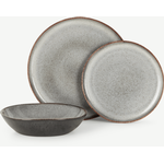 Krisha 12 Piece Reactive Glaze Dinner Set, Speckled White & Charcoal
