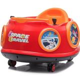 360-Degree Rotation Spin Battery Powered Kids Electric Ride On Waltzer Toy Swing Car with Joystick and Remote Control - RED