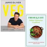 Veg Jamie Oliver [Hardcover], Fresh & Easy Indian Vegetarian Cookbook 2 Books Collection Set