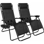 Zero Gravity Recliner Sun Lounger Chair Side Tray Table Cup Holder
