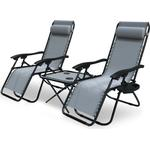 Zero Gravity Chair and Matching Table, Reclining Sun Loungers with Cup & Phone Holder, Grey, 3pcs - Vounot