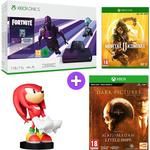 Microsoft Xbox One S 1TB Console and Fortnite - Dark Violet with Mortal Kombat 11, Sonic the Hedgehog Knuckles Cable Guy and The Dark Pictures Man of Medan and Little Hope Pack