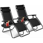 2 PK Portable Reclining Zero Gravity Chair With Cup Phone Holder