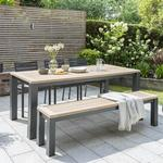 Kettler Elba Dining Table with Bench and Chairs in Anthracite/Teak