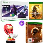 Microsoft Xbox One S 1TB Console and Fortnite - Dark Violet with Mortal Kombat 11, Sonic the Hedgehog Knuckles Cable Guy and The Dark Pictures Volume 1 Limited Edition