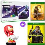 Microsoft Xbox One S 1TB Console and Fortnite - Dark Violet with Mortal Kombat 11, Sonic the Hedgehog Knuckles Cable Guy and Cyberpunk 2077