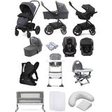Joie Chrome DLX (i-Gemm 2 &Every Stage) Travel System with Roomie Glide 5 Piece Bedside Crib Bundle - Pavement