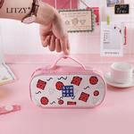 LITZY Kawaii Pencil Case Geometry Canvas Pencil Pouch Cute High Capacity Pen Bag Student Stationery Black To School Supplies