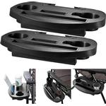 2pc Clip On Side Table Tray For Zero Gravity Sun Lounger Camping Chair Outdoor Garden Fishing Book Phone Tablet Drink Holder