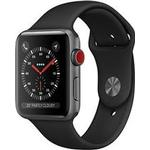 AppleWatch Series3 GPS+Cellular, 42mm Space Grey Aluminium Case with Black Sport Band