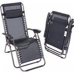 2x Oypla Folding Reclining Garden Deck Chair Sun Lounger Zero Gravity