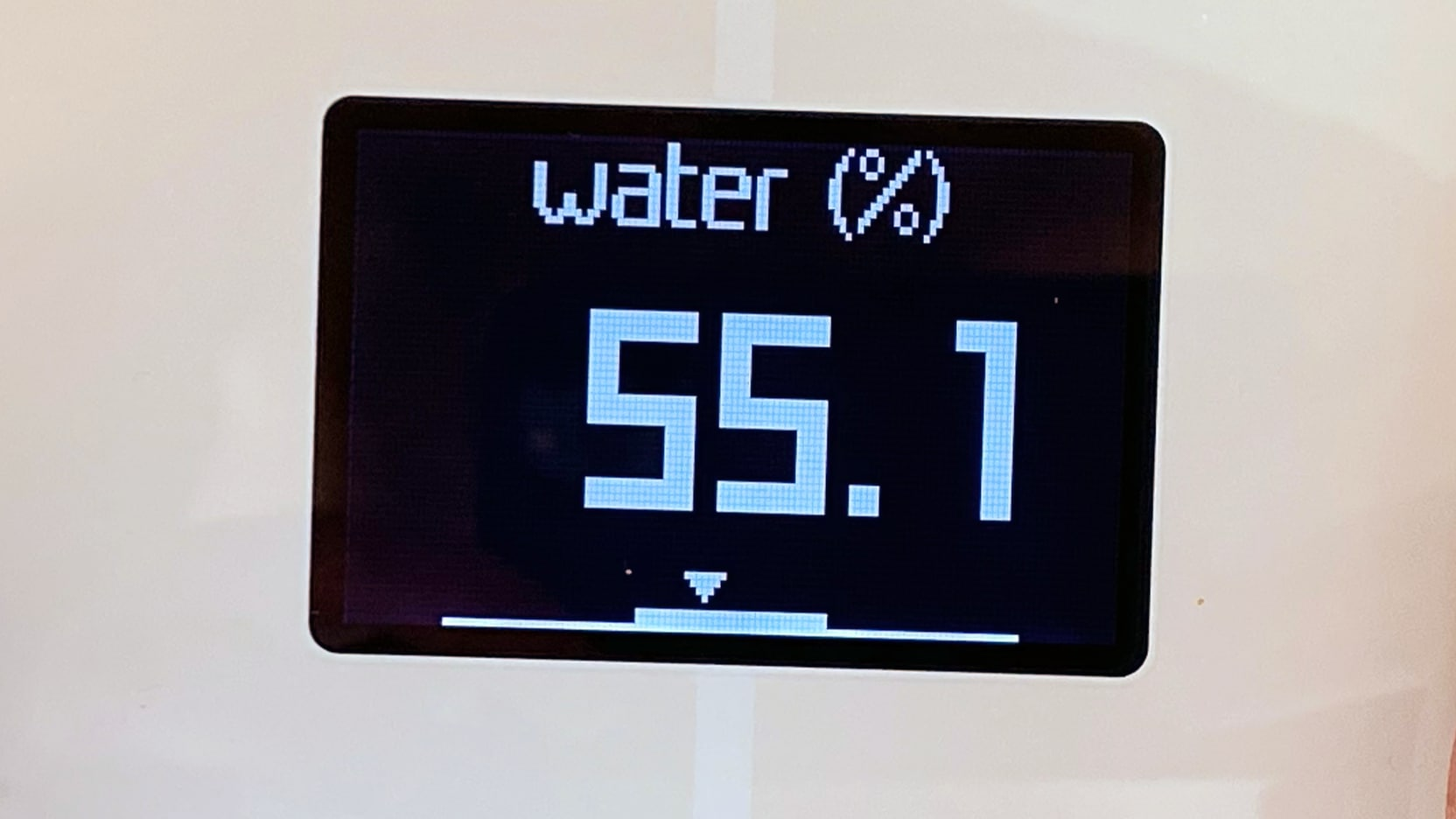 Close-up of the Withings Body+ display, with the measurement set to body water percentage