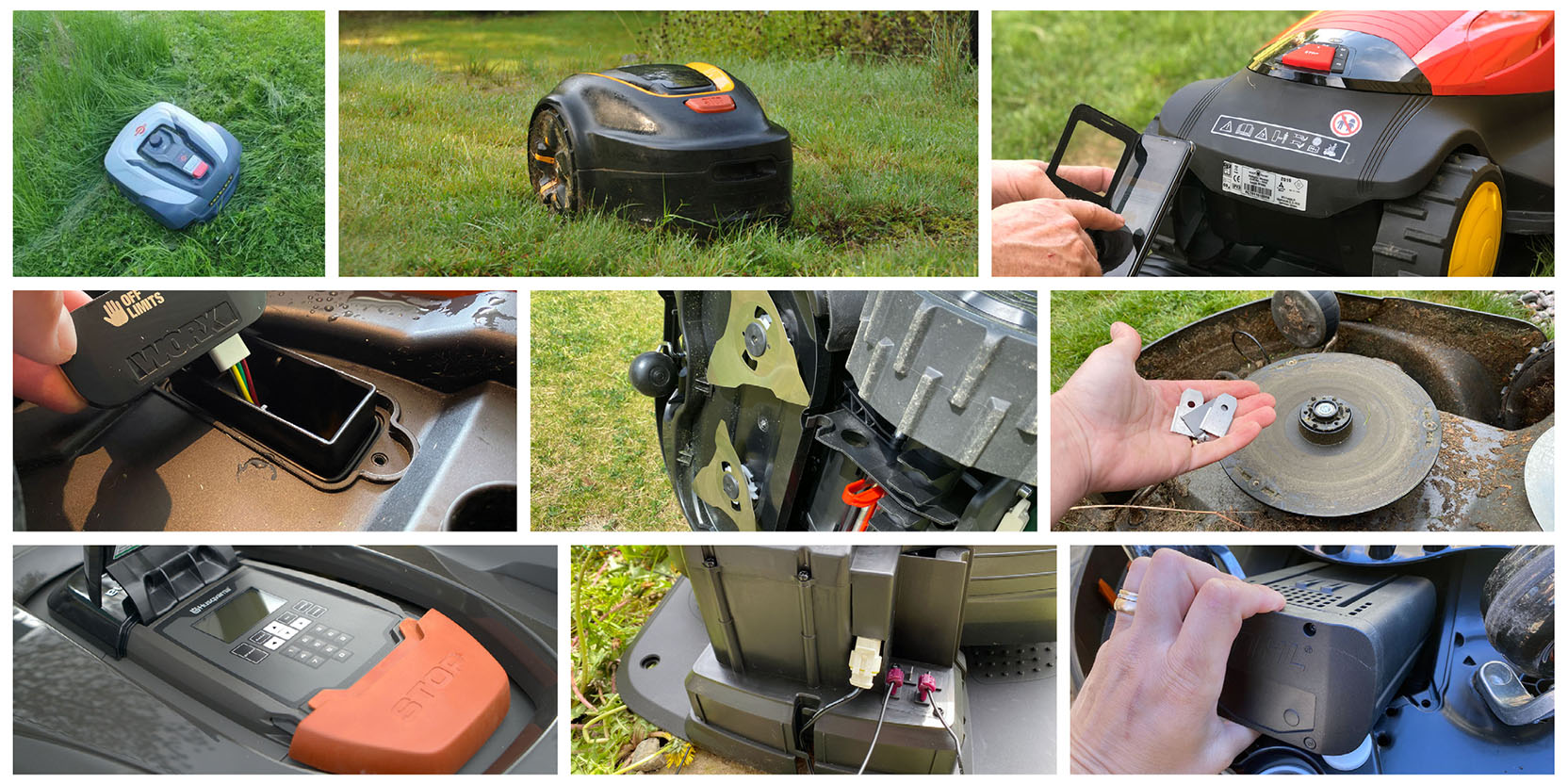 Images from testing robotic lawn mowers