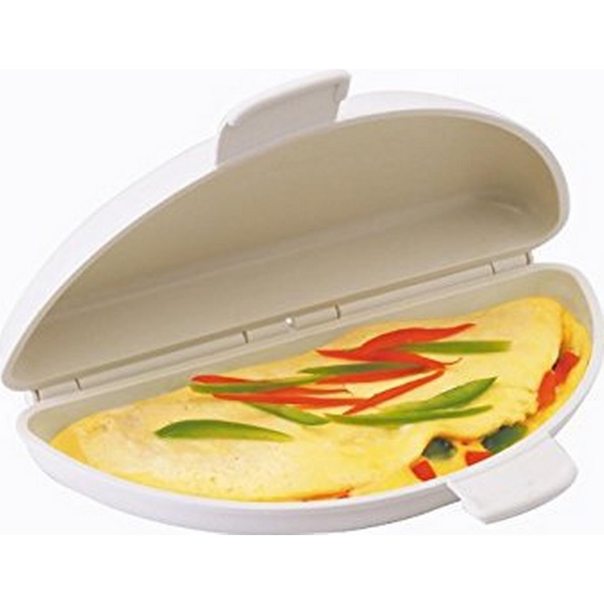 Elgento Non Stick Omelette Maker White easy Clean Two Semi circular Omelettes