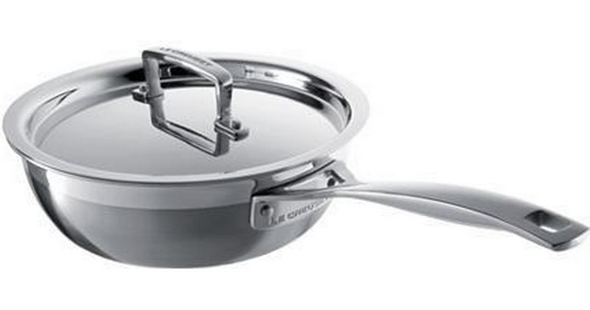 Le Creuset 3 Ply Stainless Steel Non Stick Saute Pan With Lid 3 3 L 24 0 Cm Compare Prices