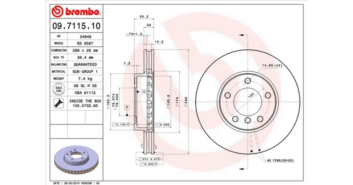 Brembo 09.7115.10 Front Brake Disc Set of 2