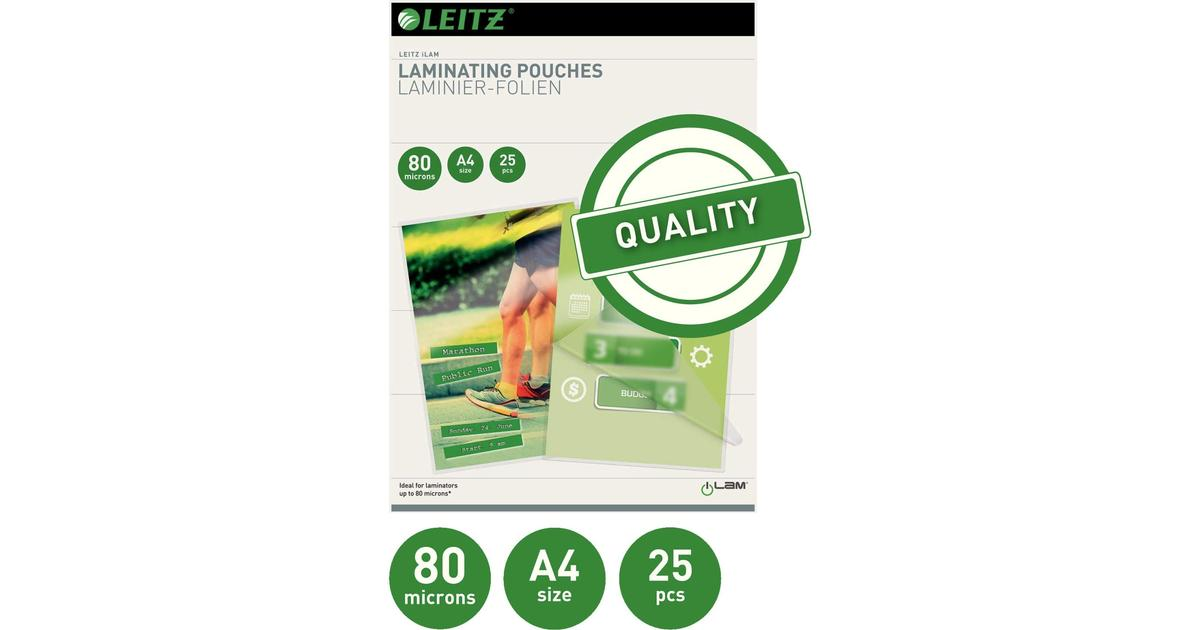 25 Pack LEITZ iLAM 80 Micron A4 Laminating Pouches Currys