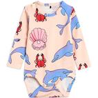 Mini Rodini Dolphin Long Sleeve Body - Light Pink (2064010400)