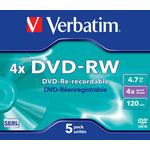 4x - DVD Verbatim DVD-RW 4.7GB 4x Jewelcase 5-Pack