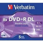 8x - DVD Verbatim DVD+R 8.5GB 8x Jewelcase 5-Pack