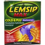 Sore throat - Water Soluble Lemsip Max Cold & Flu Blackcurrant 650mg 10pcs