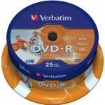 -R - DVD Verbatim DVD-R 4.7GB 16x Spindle 25-Pack Wide Inkjet