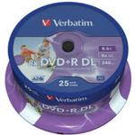 8x - DVD Verbatim DVD+R 8.5GB 8x Spindle 25-Pack Inkjet