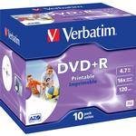 +R - DVD Verbatim DVD+R 4.7GB 16x Jewelcase 10-Pack Wide Inkjet
