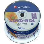 8x - DVD Verbatim DVD+R 8.5GB 8x Spindle 50-Pack Inkjet
