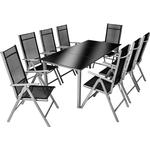 tectake Garden Table and chairs furniture set 8+1 Dining Group, 1 Table inkcl. 8 Chairs