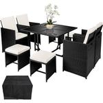 tectake Rattan garden furniture set Bilbao 4+4+1 with protective cover Dining Group, 4 Table inkcl. 1 Chairs