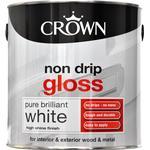 Crown Non Drip Gloss Wood Paint, Metal Paint White 2.5L