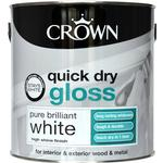 Crown Quick Dry Gloss Wood Paint, Metal Paint White 2.5L
