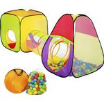 Plasti - Ball Pit tectake Pyramid Children's Tent with Tunnel - 200 balls
