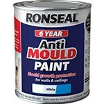 Ronseal Anti Mould Wall Paint, Ceiling Paint White 0.75L
