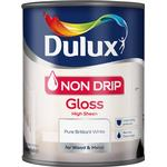 Dulux Non Drip Gloss Wood Paint, Metal Paint White 0.75L
