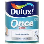 Dulux Once Gloss Wood Paint, Metal Paint White 2.5L