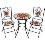 tectake Mosaic garden furniture set 2 chairs + table Ø 60 cm Café Group, 1 Table inkcl. 2 Chairs