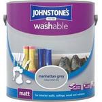 Johnstones Washable Matt Wall Paint, Ceiling Paint Grey 2.5L
