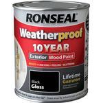 Ronseal 10 Year Weatherproof Wood Paint Black 0.75L